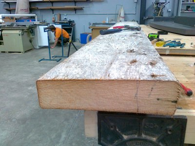 12. oregon beam getting de- nailed for slicing up on a freind's saw