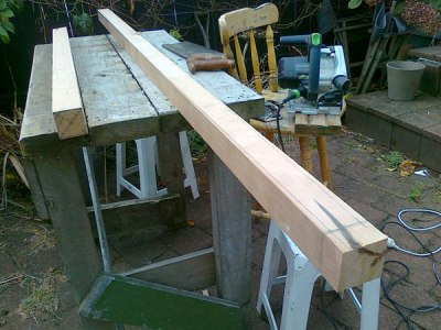 17. 2x2 oregon ready for shaping into a mizzen mast