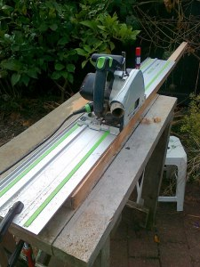 18. using aanother cool powertool to cut tapers into the mizzen mast